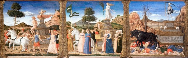 Petrarch's Triumphs on Cassone: Follower of Mantegna; Italian, c.1460s.